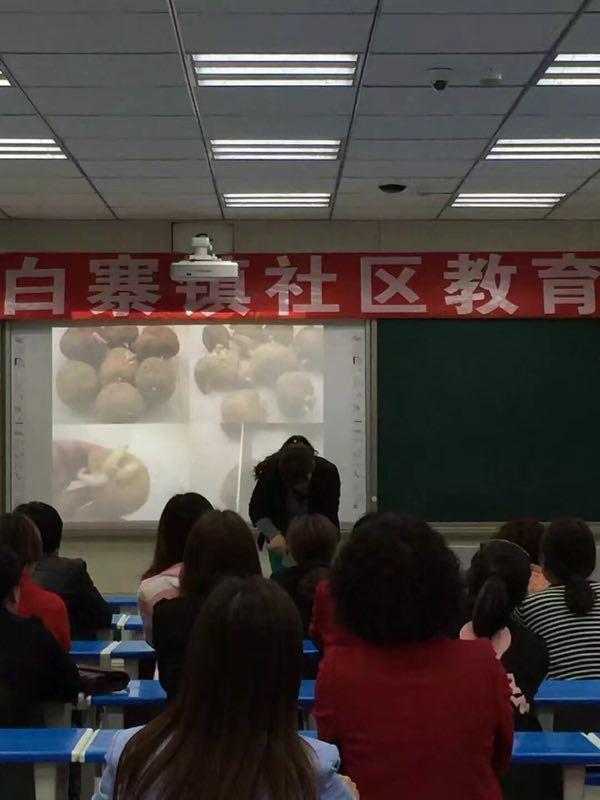 白寨村社区成人学校对农民进行马铃薯栽培技术培训