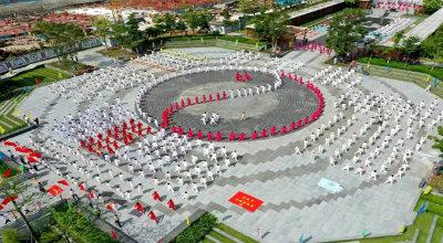 禅宗文化万人游之千人太极大汇演活动在我县惠能纪念广场隆重举行